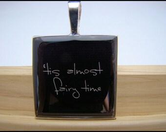 Resin Pendant, 'Tis Almost Fairy Time, Black, White, 1 inch, Square, Fantasy, For Her