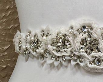 Bridal Belt Silk, Flower Bridal Sash, Rhinestone Bridal Belt, Vintage Look Bridal Belt, Wide Bridal Sash
