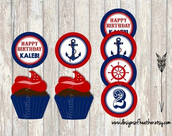 Nautical Birthday Digital Circles- Tags, Stickers, or Cupcake Toppers