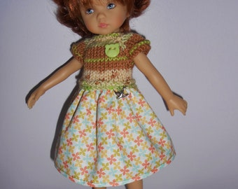 """Doll clothes for Dianna Effner, 25cm 10 """", floral dress bimaterial Boneka - fabric flowers, lime green mini"""