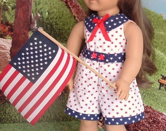 Red White and Blue Romper with Matching Shoes, Hat, and Flag for American Girl