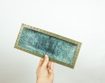 vintage metal plate, brass tray, green dish