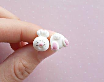 Rabbit Earrings Bunny Earrings Stud Earrings Bunny Rabbit Jewelry Bunny Jewelry Rabbit Accessories Bunny Accessories Rabbit Gift Bunny Gift