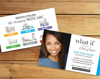 Rodan and Fields Business Card Back - Life Changing Skincare Tagline with Regimens