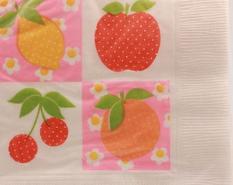 Vintage 2 Sealed Packages of Beverage Napkins (Fruit) by Hallmark