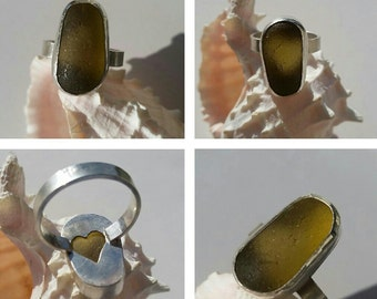 Large Sea Glass Ring. Olive Sea Glass Ring. Sea Glass Jewelry. English Sea Glass. Sterling Silver Ring Size 8. Handmade. Ela Sea Glass