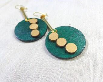 green earrings,  green disk long earrings, geometric green earrings