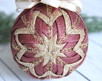Quilted Christmas Ornament-Rose-Gold-Make It Shine