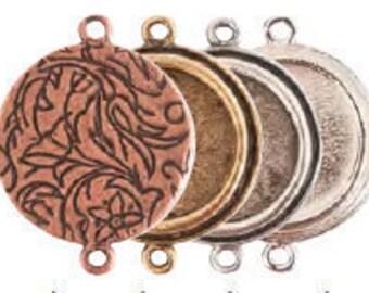 Verzierten Runde Lünette Anhänger Doppel-Loop - 2 Ringe - 2 doppelseitige Lünette - Harz Collage Rahmen - hohe Verarbeitungsqualität
