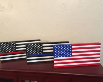 wooden flags, thin blue line flag, thin red line flag, american flag, handmade flags, home decor, outside decor, gifts, flags