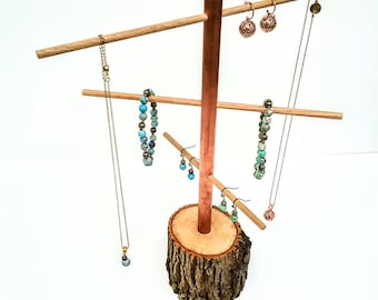 Earring Tree Rustic Tree Branch Jewelry Display Ash, Copper and Oak Necklace and Bracelet Display