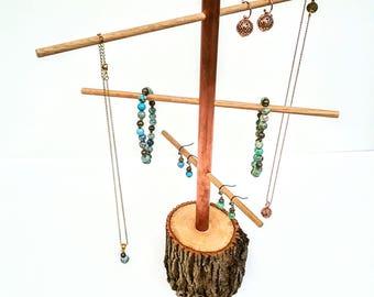 Boucle d'oreille arbre rustique arbre branche bijoux présentoir frêne, cuivre et chêne collier et Bracelet affichage