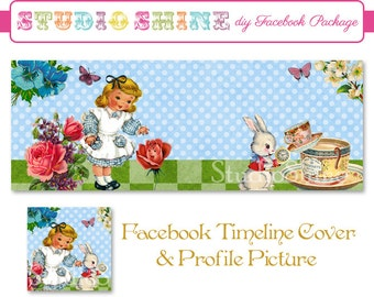 DIY Facebook Cover Package - Facebook Timeline Cover and Profile Picture - Wonderland - Website or Blog Banner Digital Instant Download