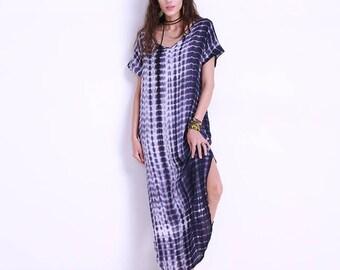 Dye Print Side Split Loose Long Dress