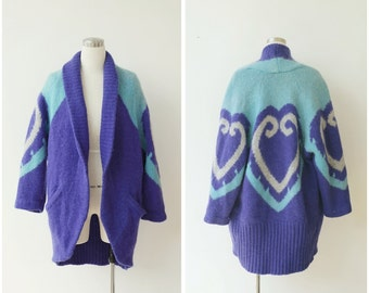 1980's Oversized Sweater Coat, Slouchy Mohair Wool Knit, Cardigan Jacket, 80's Avant Garde Coat