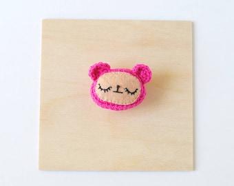 Magenta Bear Crochet Brooch | Handmade Crochet Pin, Handmade Brooch, Crochet Flair, Girlfriend Gift, Pin Collector, Yarn Pin, Yarn Brooch