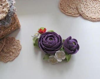 Knitted two colors patchwork brooch-Lilac garden