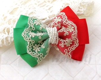 NEW: Christmas Holiday Ella Grace Collection - Red / Green Ribbon and Lace Hair Bow knot Applique. DIY Hair accessories. Fabric pearl bow.