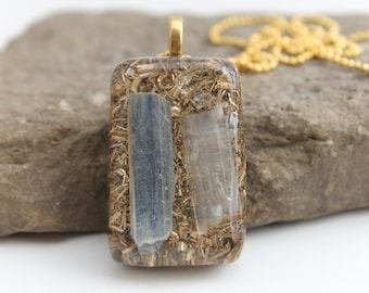 Selenite and kyanite Orgonite® pendant