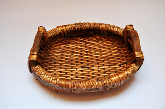 Vintage Rattan Oval Woven Basket Tray With Wooden Handles