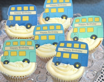 Edible BLUE London Double Decker Buses x 15- Routemaster - Personalise - Wafers Rice Paper Cake Cupcake Biscuit Toppers Party Decoration