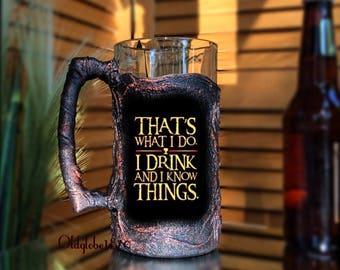 Personalized Beer Mug~I drink and I know things~Game of thrones mug~Custom Beer Stein~1L beer mug~Best Man Gift~Gift for Groomsmen~#BM023