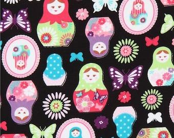 214039 black with Matryoshka butterfly oxford fabric by Kokka