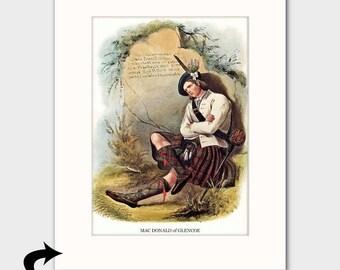 Clan MacDonald of Glencoe, Family Art Print w/Mat (Highland Hilt Sword, Poet Print, Gift for Him) --- Matted Scotland Art