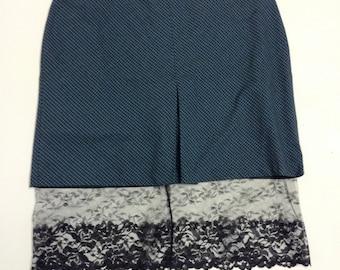 Blue Plaid Skirt with Black Lace Underlay XXL