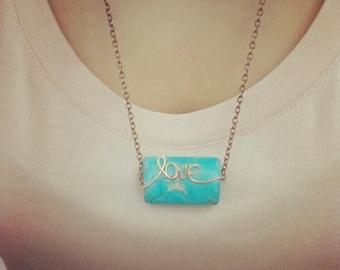Wire Love Stone necklace