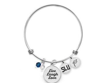 Saint Louis University Billikens Bangle Bracelet   Custom College Bracelets   Graduation Bracelets   Inspirational Bracelets