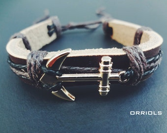 Dark Brown Leather Anchor Bracelet- Adjustable with Gold Anchor