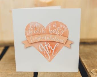Baby Girl | Congratulations | Greeting Card