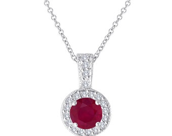 Red Ruby And Diamonds Pendant Necklace 14K White Gold 1.23 Carat Halo Pave Handmade