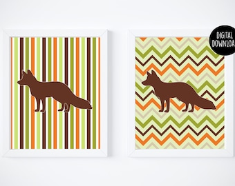 fox fall chevron printables digital download // 8x10 // printable wall decor
