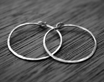 Sterling Silver Hoop Earrings - Sterling Hoops - 1 Inch Hammered Medium Hoops - Simple Silver Hoops - Minimalist Jewelry - Two Feathers