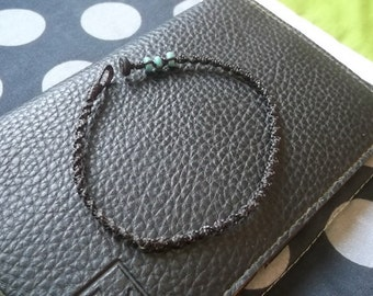 Cool turquoise stone dark brown wax cord Anklet  handmade  from Thailand  by Nannapatt