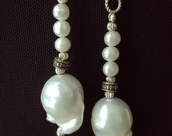 "Baroque White Keshi Freshwater Cultured Pearl Earrings 2.5"" (64mm), 925 Sterling Silver with Marcasites"