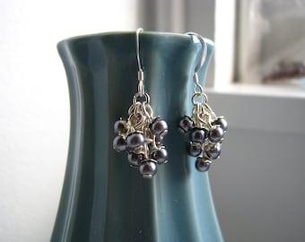 Silverberry Earrings - Glass Cluster Earrings in Dark Grey and Silver