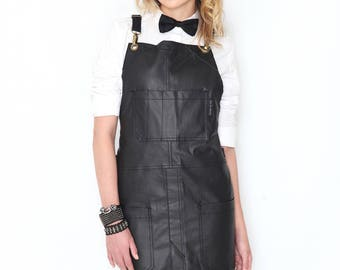 Cross-Back Apron - Coated Jet Black Denim - Split-Leg - Black Leather