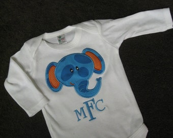 Baby onesie applique with elephant and name or monogram