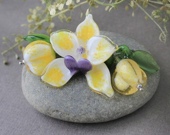 Lampwork Orchid, Set of 7 Glass Beads, Lampwork Beads, Lampwork Flower Beads