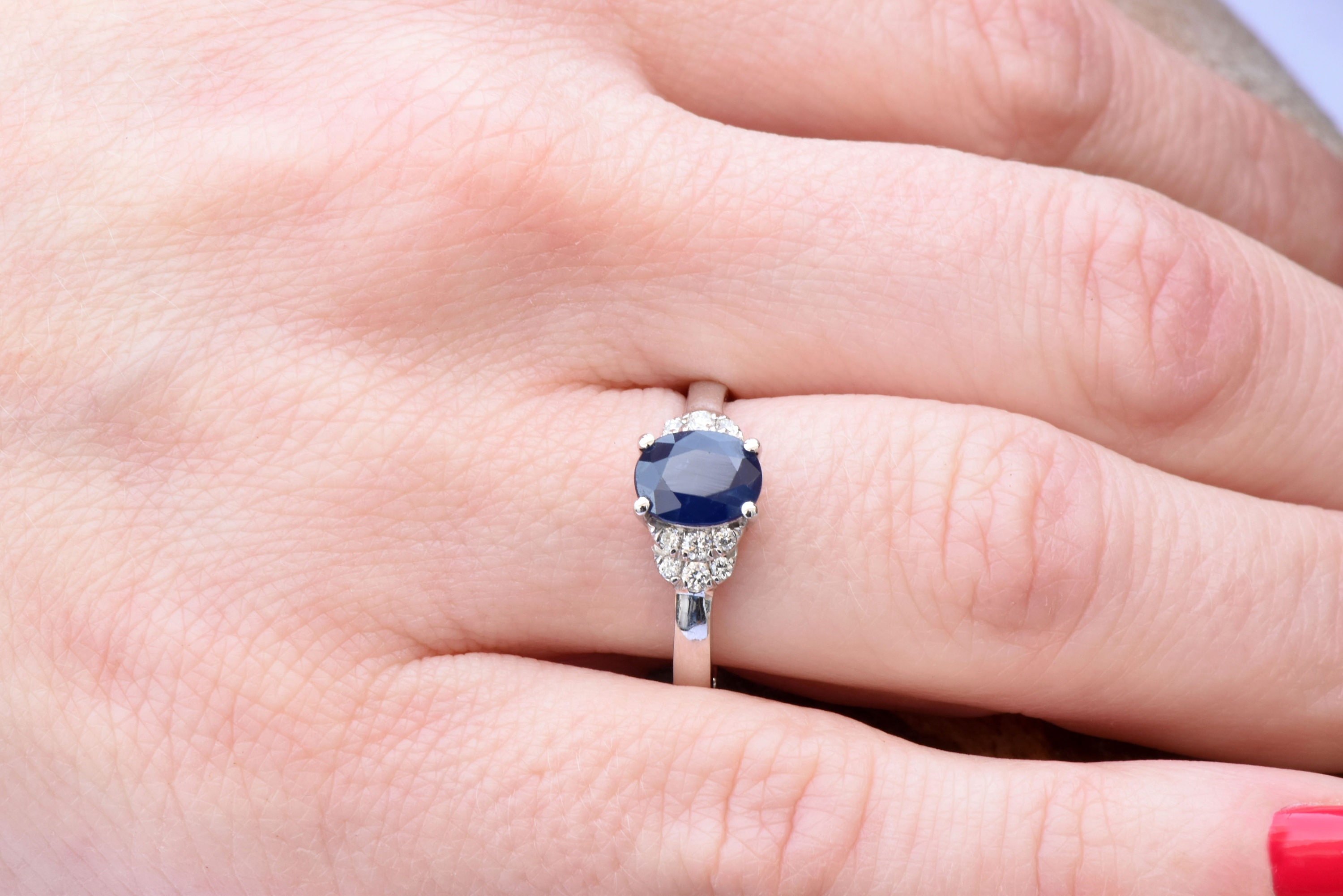 Blue Sapphire Diamond Engagement Ring -White Gold Ring-1 carat ...
