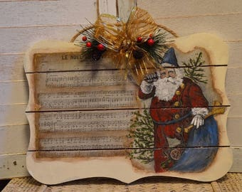 Large Hand Painted Wooden Vintage Look  Santa Sign / Plaque