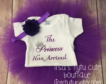 the princess has arrived, newborn tutu, newborn tutu outfit, preemie tutu, preemie tutu outfit, girl first pictures outfit