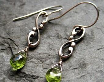 Peridot drop earrings, august birthstone earrings, green gemstone earrings, silver dangle earrings, infinity earrings, gift for wife Wrought
