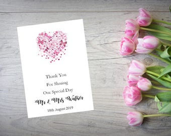 Personalised Wedding Thank You Cards with Matching Envelopes Pack Of 10 TY88