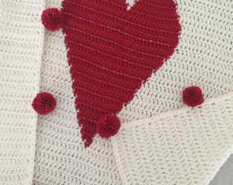 Large Heart Pom Pom Baby Blanket - READY TO SHIP