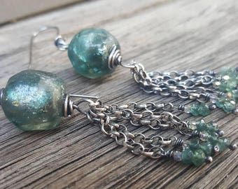 Teal basha bead earrings, glass bead tassel earrings, Blue tourmaline earrings, boho tourmaline, rustic bohemian jewelry, beach wedding
