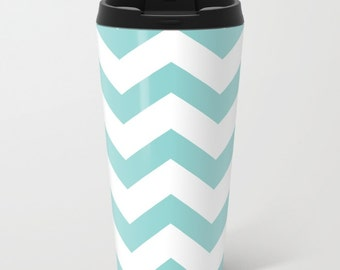 Blue and White Chevron Metal Travel Mug - Stainless Steel Travel Mug With Lid - Gift For Men - Gift For Women - Aldari Home